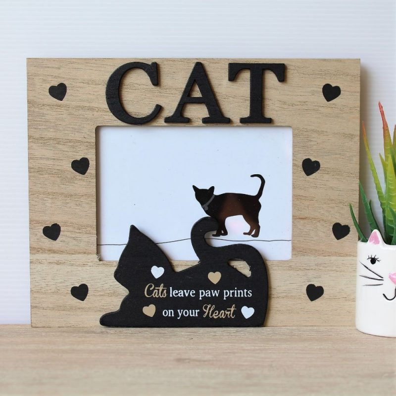 Black Hearts Cat Wooden Photo Frame