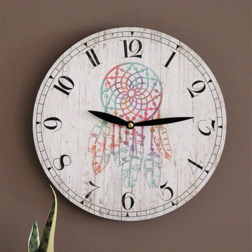 Bohemian Dream Catcher Wooden Wall Clock