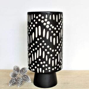 Boho Matt Black Tribal Vase