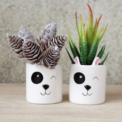 Ceramic Dog Mini Pot Planters Set