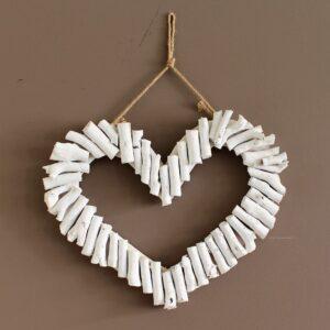 Coastal White Driftwood Heart Wall Art
