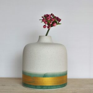 Coastal White Gold Ceramic Flower Vase
