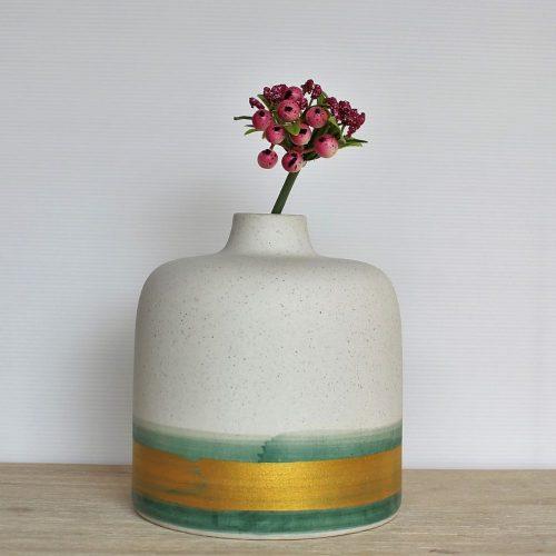 Coastal White Gold Ceramic Flower Vase
