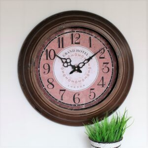 Distressed Iron Pink French Vintage Wall Clock