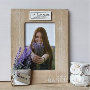 French Vintage Wooden Photo Frame With Lavender Pot