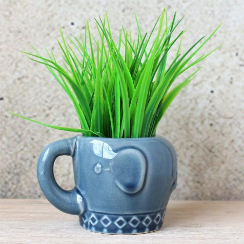 Glossy Blue Elephant Ceramic Pot Planter