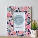 Glossy Floral Love You Wooden Photo Frame