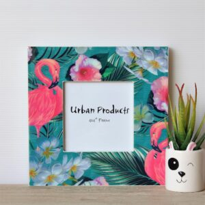 Glossy Tropical Flamingo Wooden Photo Frame