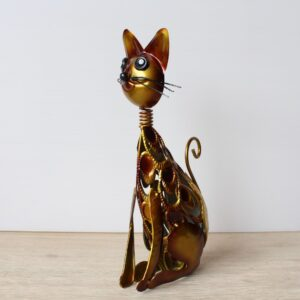 Golden Cat Metal Garden Animal Figurine