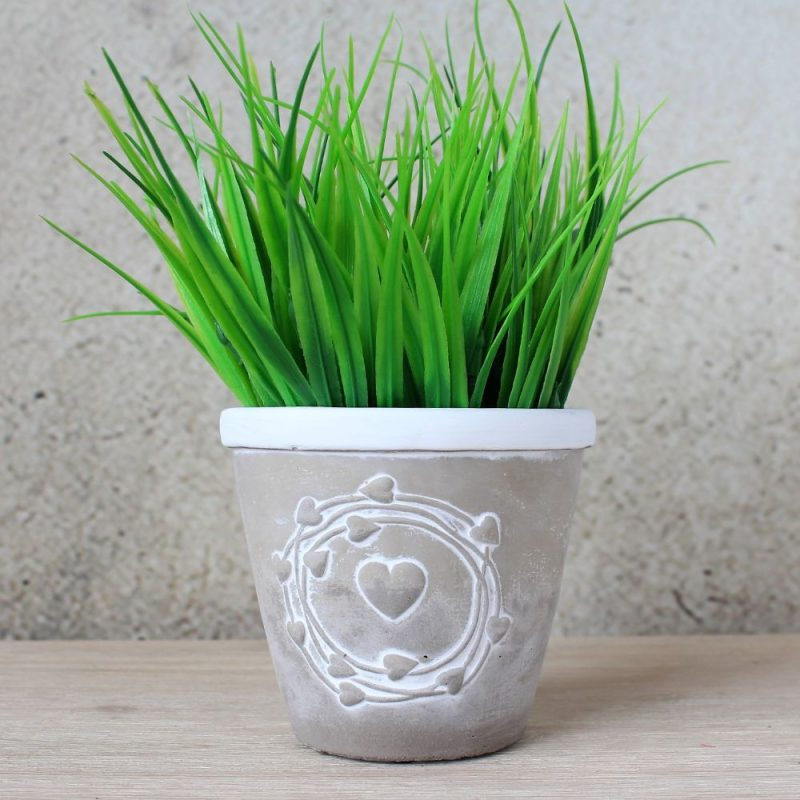 Grey & White Hearts Concrete Pot Plante