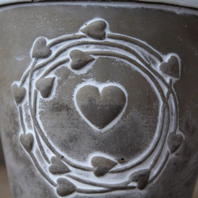 Grey & White Hearts Concrete Pot Planter