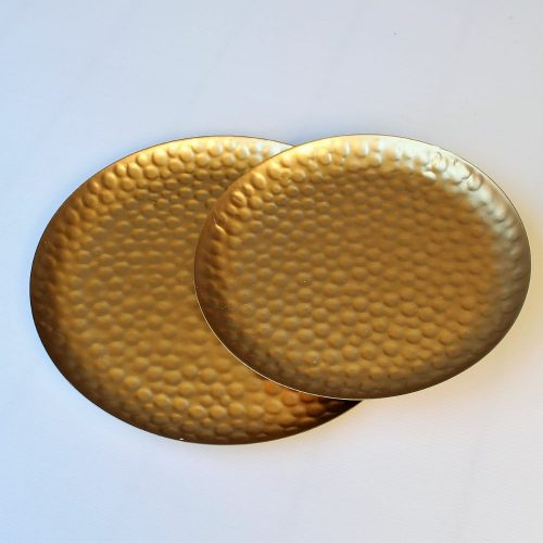 Set of 2 Hammer Effect Golden Metal Serving Tray