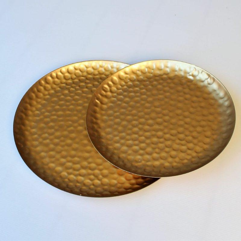 Set of 2 Hammer Effect Golden Metal Serving Tray