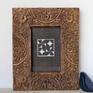 Hamptons Floral Mandala Wooden Carved Photo Frame