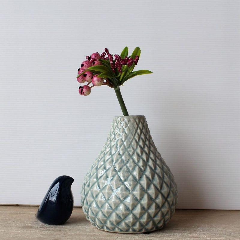 Light Blue Diamond Pattern Ceramic Bud Vase