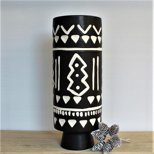 Matt Black Geometric Tribal Ceramic Vase
