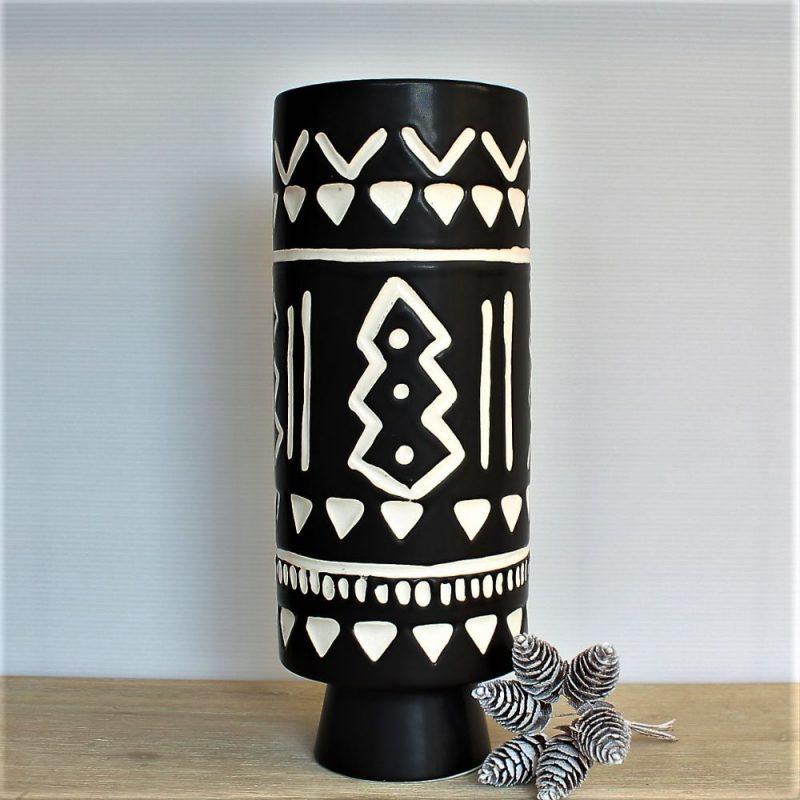 Matt Black Geometric Tribal Ceramic Vase