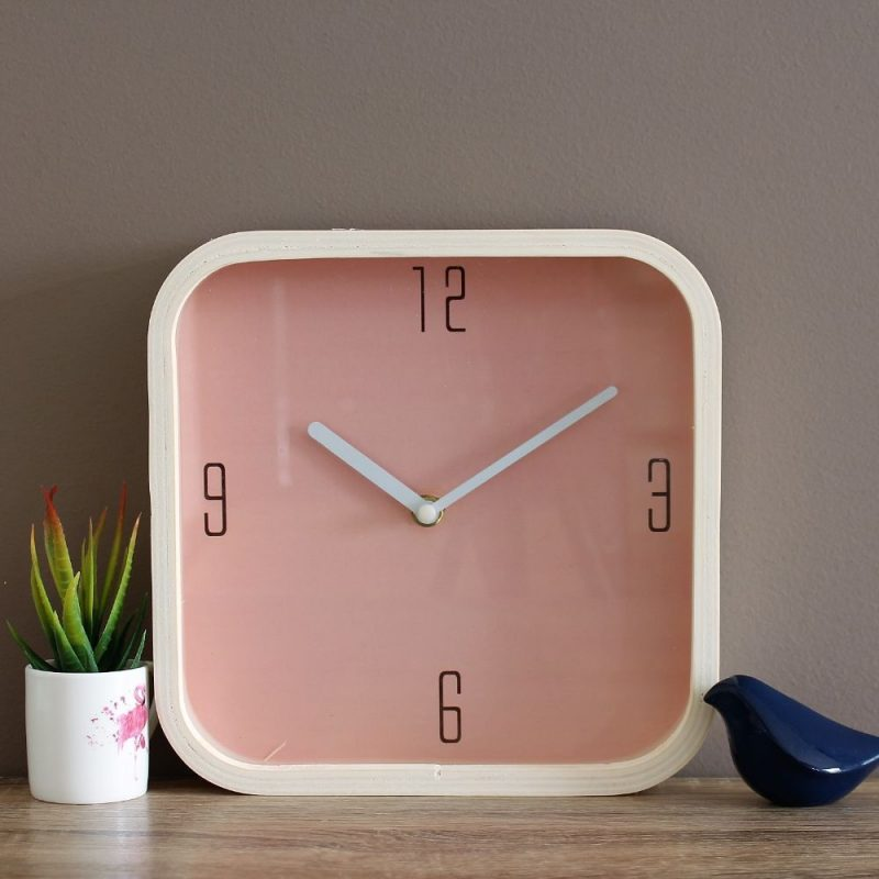 Minimalist Pink Square Wooden Wall Clock