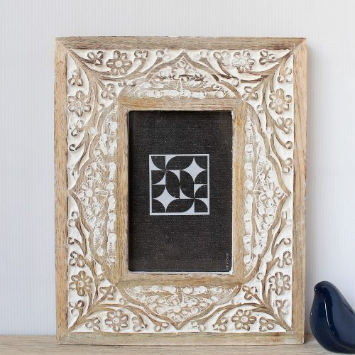 Natural White Floral Wooden Carved Photo Frame