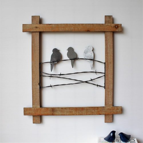 Rustic Birds On Metal Wire Wooden Wall Art
