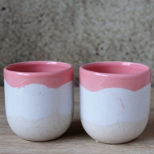 Set Of 2 Ceramic Cream & Pink Pot Planters