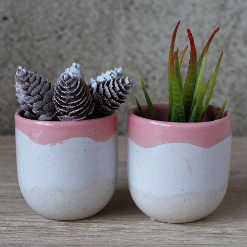Set Of 2 Ceramic Cream & Pink Pot Planters