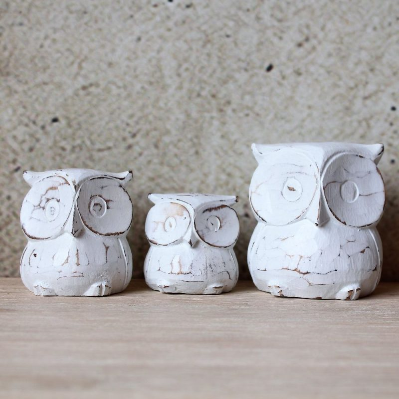 Set of 3 Hand Carved Wooden Owl Family Figurine