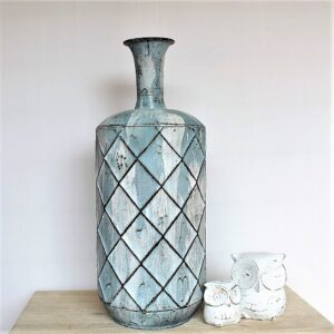 Tall Hamptons Blue and White Rustic Metal Vase