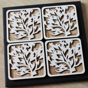 Tree Of Love Wooden Coasters - Set Of 4