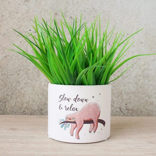 White Sloth Print Terracotta Pot Planter