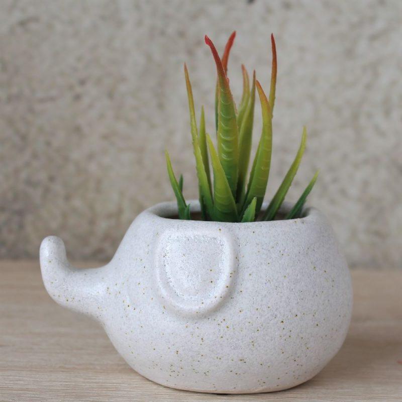 White Speckled Elephant Ceramic Pot Planter