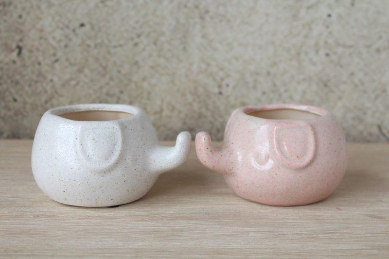 Pink Speckled Elephant Ceramic Pot Planter