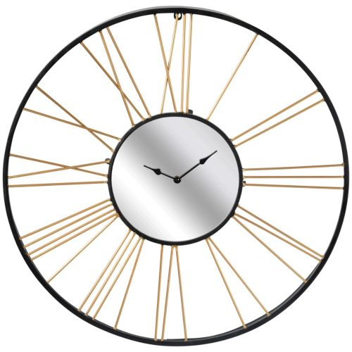X Large Black Gold Mirror Metal Wall Clock