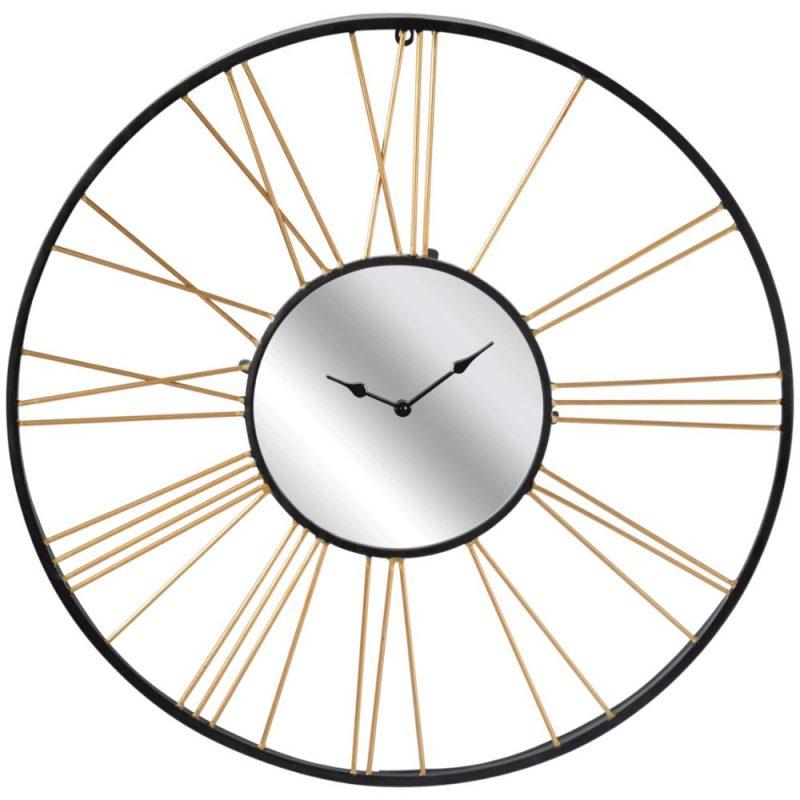 X Large Black Gold Mirror Metal Wall Clock