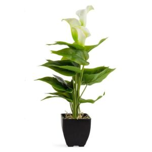 Artificial White Lily Flower In Pot