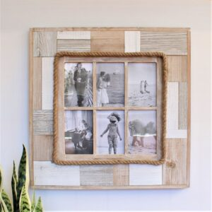 6 In 1 Rustic Timber Multi Collage Photo Frame