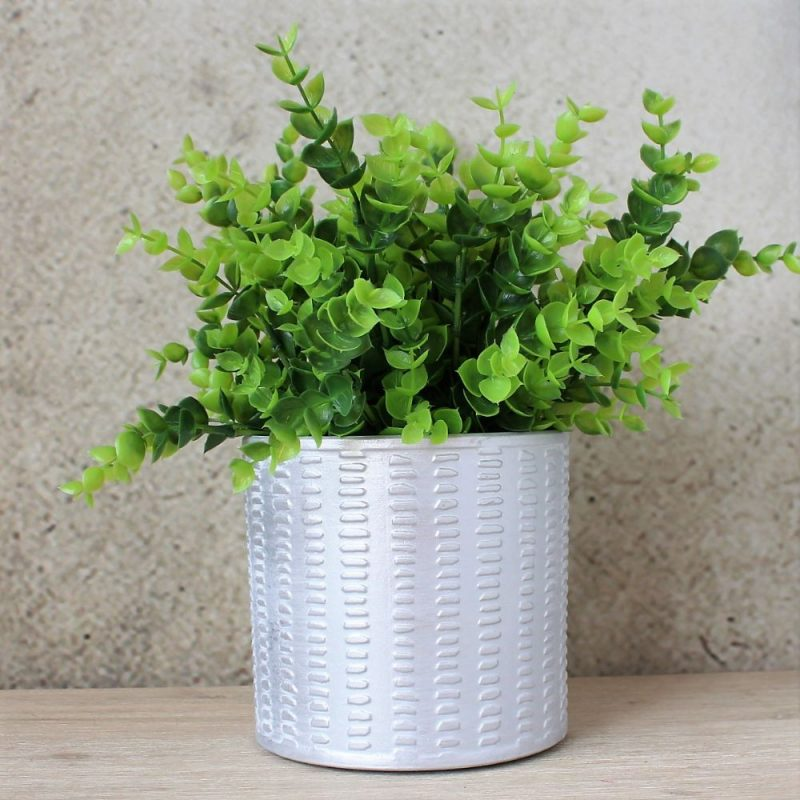 Aztec Silver Dash Pot Planter