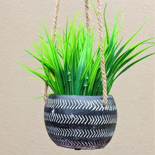 Black And White Concrete Hanging Pot Planter