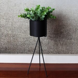 Black Metal Planter with Plant Holder