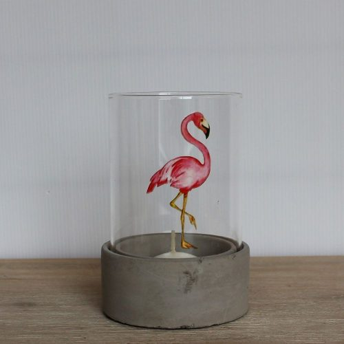 Flamingo Glass Hurricane Candle Holder With Cement Base