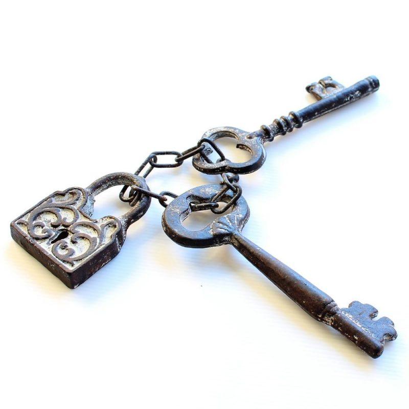 Rustic Cast Iron Lock & Keys Ornament