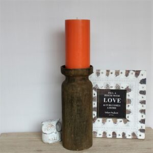 Rustic Country Wooden Pillar Candle Holder