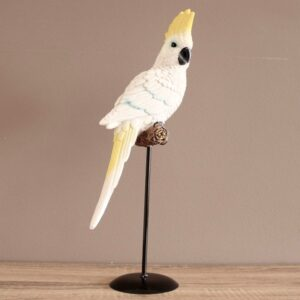 Australian Cockatoo Bird Figurine On Metal Stand