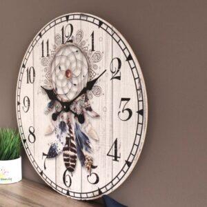 Large Boho Mandala Dream Catcher Wooden Wall Clock