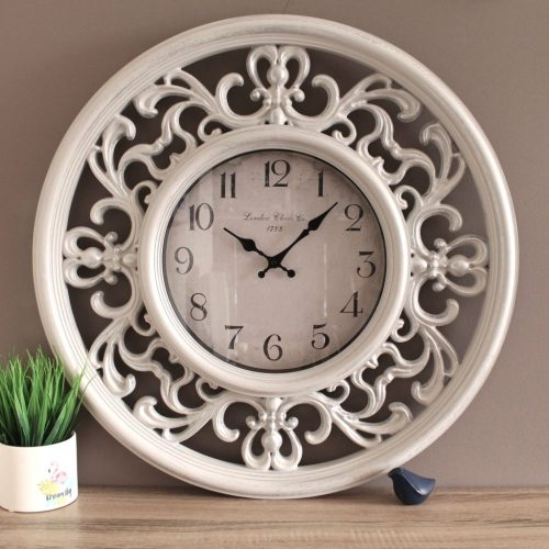 Large White French Filigree Wooden Wall Clock