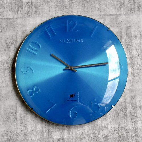 Blue Nextime Glass Silent Wall Clock