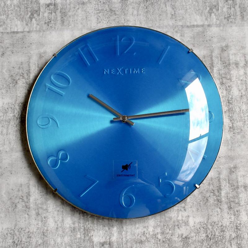 Blue Nextime Glass Silent Wall Clock
