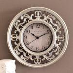 Silver Ornamental Filigree Wooden Wall Clock