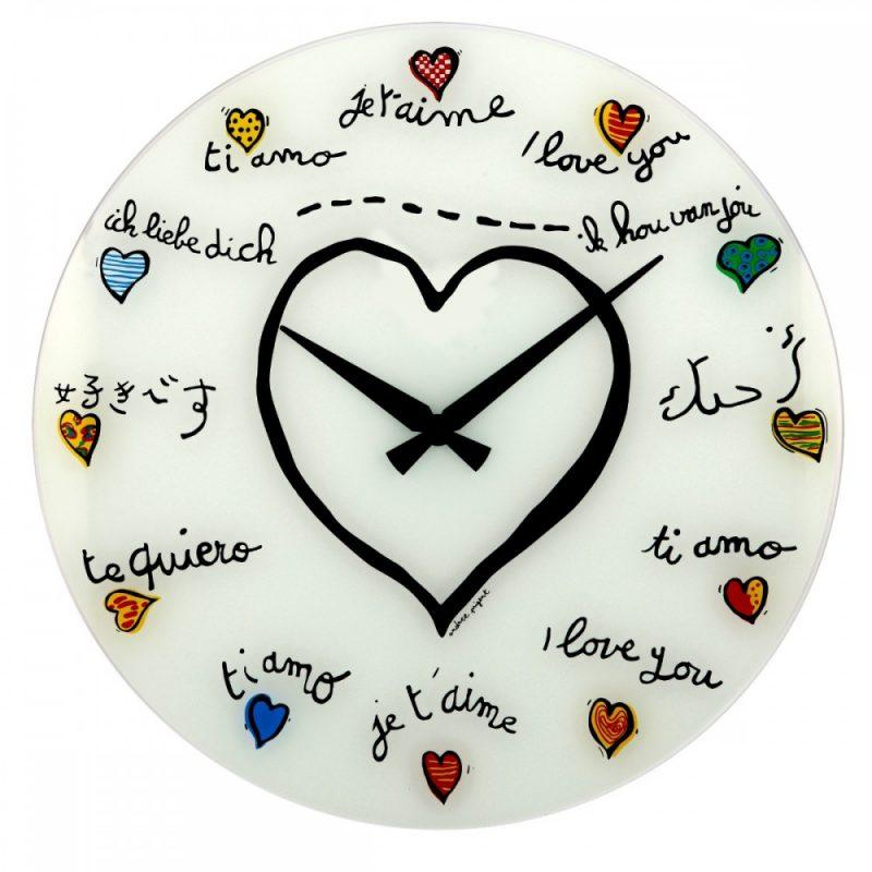 White Love Hearts Nextime Silent Wall Clock