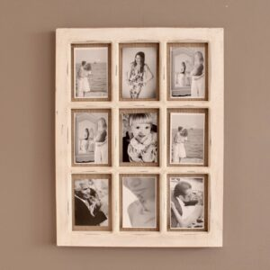 9 In 1 Rustic White Hessian Wall Photo Picture Frame